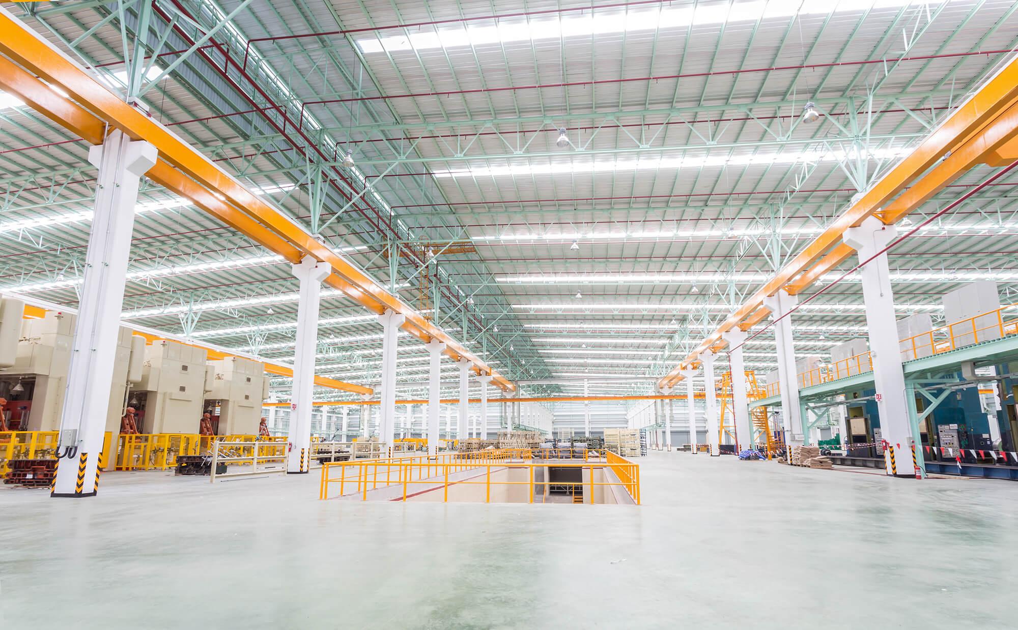 brightly lit warehouse LEDs